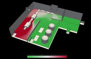Diagrama de eficiencia con ventilación industrial